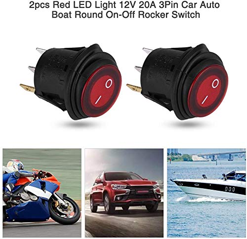 Waterproof Round Rocker Toggle LED Switch Car Auto Boat Round On-Off Rocker Toggle Switch SPST Circuit,Waterproof,3//4 20mm Hole 4pcs Red LED Light 12V 20A 3Pin