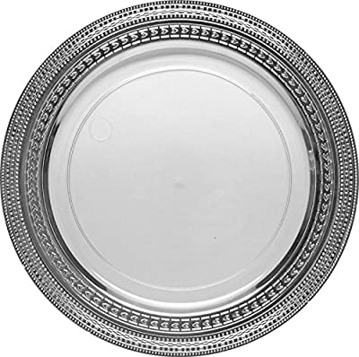 "Decor Elegant Disposable Premium Dinner 9"" Plates, Symphony Collection, Clear & Silver, 40 Count"