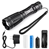 LE 1000lm LED Tactical Flashlight Rechargeable XM-L2 T6 , Portable, Zoomable, 5 Light Modes, 10W, 18650 Battery and Charger Included, Water Resistant Camping Torch, LED Handheld Flashlight, UL Listed