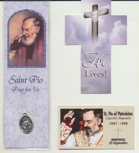 - Saint Padre Pio Lot Bookmark with Medal, Holy Prayer Card and Free Cross Bookmark