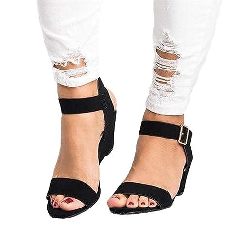 98c7d0221 Sandalias de Vestir para Mujer Negro Zapatos de Tacón Medio Hebilla  Sandalias Cuña Retro Elegante Sandalias Casuales Verano Sandalias de Punta  Abierta  ...
