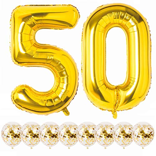 Flymmy Number 50 Balloons Gold 50th Birthday Set of 40 inch 50 Balloon Number Gold Foil Mylar & 8PCS 12 inch Gold Confetti Balloons for Men Women 50th Birthday Party Decorations Wedding Anniversary Decor