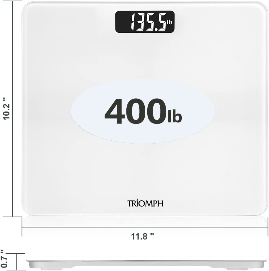 Ultra Slim Design 6mm Tempered Glass Triomph Digital Body Weight Bathroom Scale with Step-On Technology Weight Loss Monitor 400 Pounds White