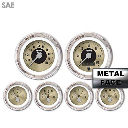 Gold Face, Silver Modern Needles, Chrome Bezels Aurora Instruments 4194 American Classic 6-Gauge Set