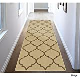 MN 2'7' X 7' Beige Trellis Design Royal Fancy Indoor Outdoor Jute Backing Runner Rug, Polypropylene Contemporary Natural Neutral Color Flatweave Decorative, Living Room Indoor Entryway Accent Carpet