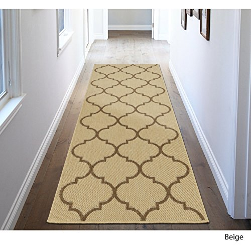 MN 2'7' X 7' Beige Trellis Design Royal Fancy Indoor Outdoor Jute Backing Runner Rug, Polypropylene Contemporary Natural Neutral Color Flatweave Decorative, Living Room Indoor Entryway Accent Carpet by MN