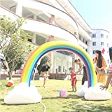 GDAE10 Inflatable Rainbow Arch Sprinkler Ginormous Rainbow Cloud Yard Sprinkler Giant Inflatable Archway Lawn Beach Outdoor Toys Perfect for Child Adult Baby Games Center 238cm