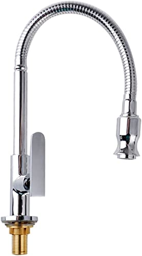 High arc Stainless Steel Single Handle Single Lever Pull down Kitchen Sink Faucets 360 Degree Swivel Spout Flexible Spray Kitchen Garden Taps Deck Mount, Cold Water Only, Chrome Finish