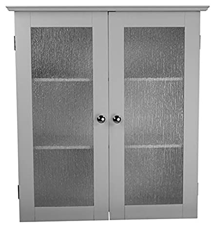 Amazon.com: Highland White Double Glass Door Wall Cabinet: Kitchen ...
