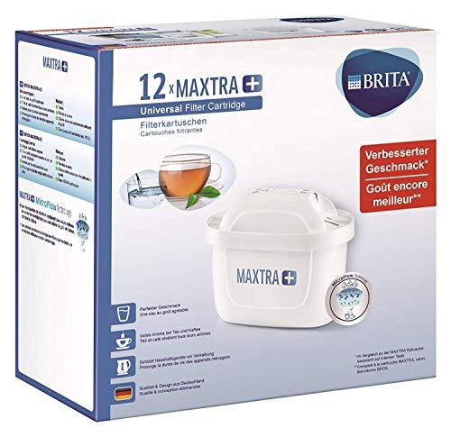 BRITA MAXTRA+ – 12 filtros para el agua – Cartuchos filtrantes compatibles con jarras BRITA que reducen la cal y el cloro