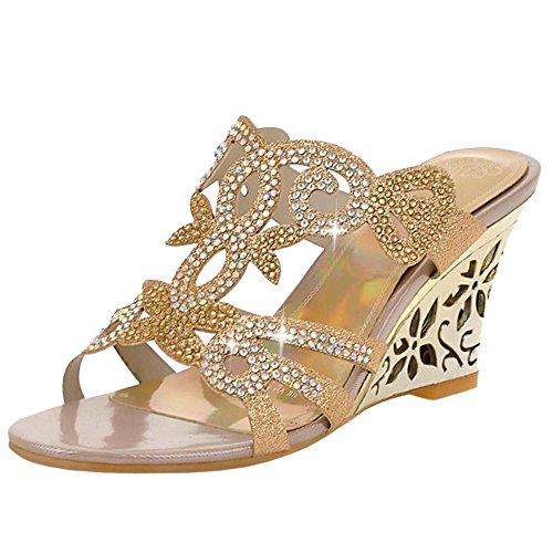TAOFFEN On Gold Zeppa Slip Donna Sandali Moda AqA8w60z