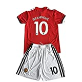 #7: Zlatan Ibrahimovic #10 Manchester United Home 17/18 Kids/Youth Soccer Jersey & Shorts Red For 7-8Years