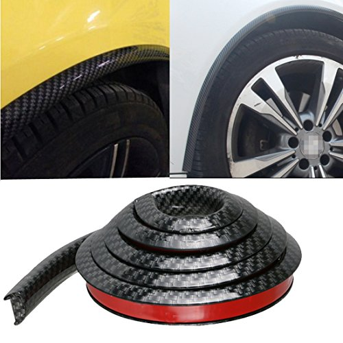 GOGOLO Car Wheel Well Moulding, 4PCS Waterproof 59″/150cm Car Trunk Body Wheel Well Trim Rubber Strip Fender Lip Protector Mouldings Kit Universal Fit, Black
