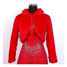 KAKA(TM) Gorgeous Winter Bridal Wedding Dress Wrap Artificial Plush Shawl-Red