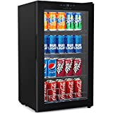 Nutrichef Wine & Beverages Cooler - Big Refrigerator Chiller w/Multi-tier Shelf Racks, Adjustable Temp Control, LCD Thermostat Display & Auto Defrost Function - PKTEBC70
