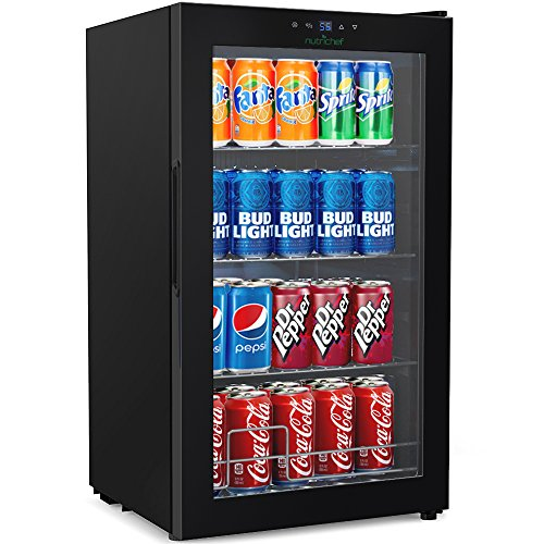 NutriChef 77 Can Beverage Cooler Refrigerator with Glass Door - Beer Cooler Fridge Center ()