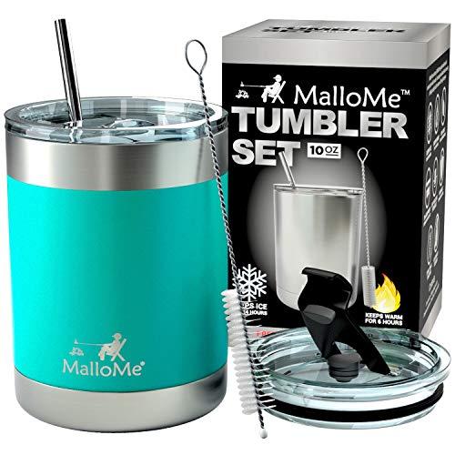 MalloMe Stainless Steel Vacuum Insulated 5-Piece Tumbler Set, Aquamarine Blue 10 oz