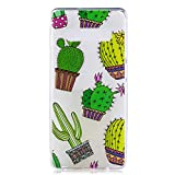 Galaxy S10e Case, for S10e 5.8'', MerKuyom Lightweight [Clear Crystal Transparent] Slim-Fit Flexible Gel Soft TPU Case Cover for Samsung Galaxy S10e 5.8-inch, W/Stylus (Green Cactus Pattern)
