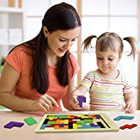 Teaisiy Wooden Tetris Puzzle Toys for Kids Best Gifts