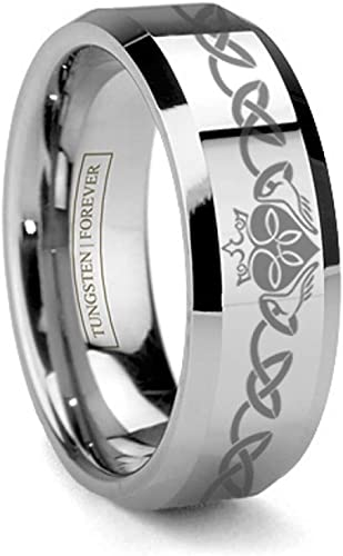 Forever Flawless Jewelry 6mm Beveled Edge Laser Engraved Celtic Knot Pattern Desginer Tungsten Carbide Wedding Band