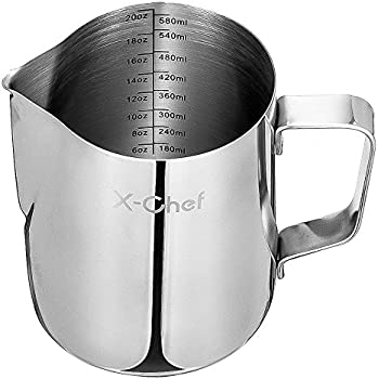Milk Pitcher, X-Chef Stainless Steel Creamer Frothing Pitcher 20 oz (600 ml)