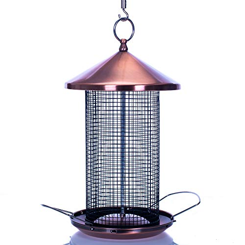 Bird Seed Cottage - Cottage Garden 12 inch Copper Finish Heavy Duty Mesh Metal 3 Lb. Secure Cap Cover Nut Bird Feeder
