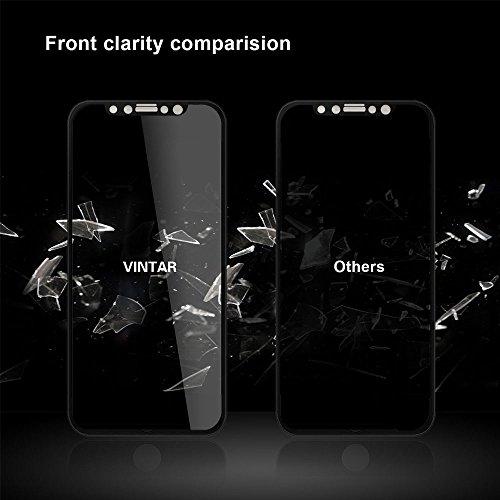 Vintar [3D Full Coverage] Privacy Screen Protector for iPhone X, 9H Anti-Spy Tempered Glass Screen Protector, (Black) by VINTAR (Image #2)