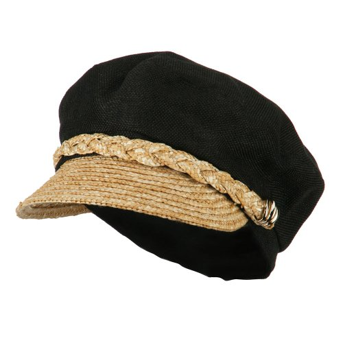 [Women's Linen Straw Greek Sailor Style Cabbie Cap - Black OSFM] (Sailor Straw Hat)