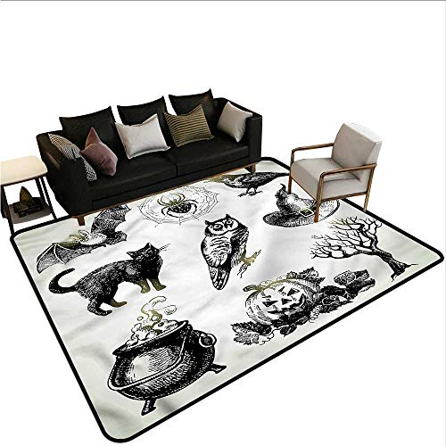 Vintage Halloween,Large Floor Mats for Living Room 48
