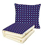 iPrint Quilt Dual-Use Pillow USA United States of America Theme Federal Holiday Celebration Revolution Design Decorative Multifunctional Air-Conditioning Quilt Dark Blue Red White