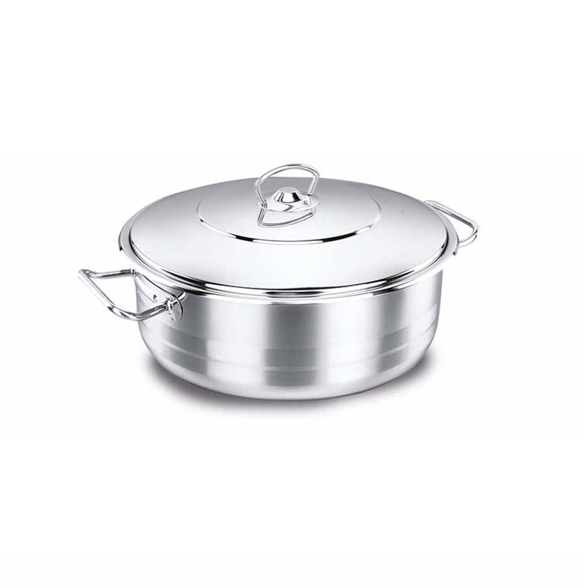 Korkmaz Astra Stainless Steel Capsulated Low Casserole With Stainless Steel Lids, Astra 24 X 8 - 3.6 Litre