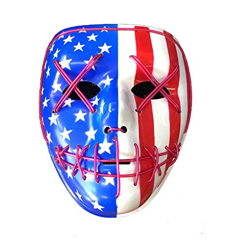 Himine Cosplay LED Mask Light up Mask for Festival Party Halloween (Flag)