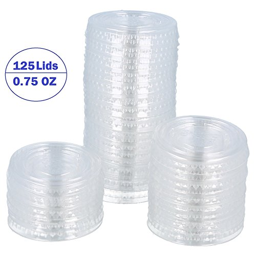 e Disposable Portion Cup Lids - for Food, Drinks, Souffle, Sauces - for Home, Kitchen, Takeout, Dining, Restaurant, Cups Sold Separately (Pack of 125 Lids, 0.75 oz) ()