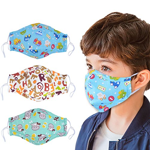 Adjustable Mask - Dust Mask for Kids,Aniwon 3 Pcs PM2.5 Kids Mouth Face Mask with 6 Pcs Activated Carbon Filter Insert,Washable Cute Cotton Mouth Mask with Adjustable Straps