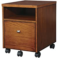 Wild Rose 1 Drawer Mobile Vertical Filing Cabinet Legal;Letter Drawer Type Made of Select Veneers and Wood Solids in Oak Finish 21'' H x 15.75'' W x 19.5'' D in.