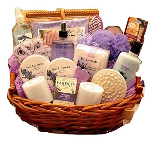 Heavenly Lavender Spa -Women's Birthday, Holiday, or Mother's Day Gift Basket Idea Bath Chocolate Gift Basket