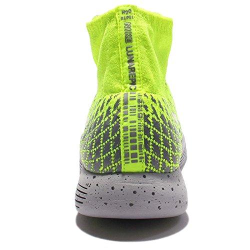 Nike Mens Lunarepic Flyknit Shield Hardloopschoenen Volt / Metallic Rood Brons-donkergrijs