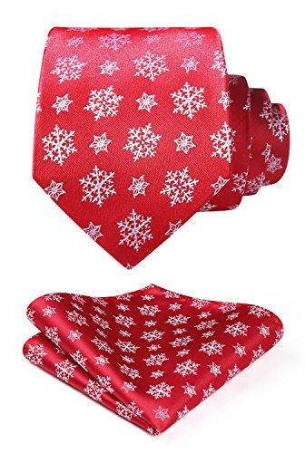 - HISDERN Men's Christmas Tie Snowflake Woven Party Necktie & Pocket Square Set