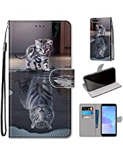 Miagon Full Body Case for Huawei Y6 2018,Colorful Pattern Design PU Leather Flip Wallet Case Cover with Magnetic Closure Stand Card Slot,Cat Tiger