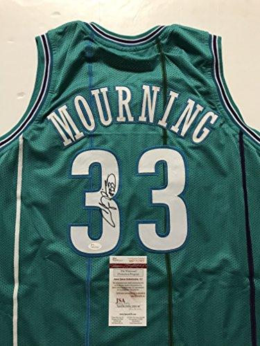 Autographed/Signed Alonzo Mourning Charlotte Teal Basketball Jersey JSA -