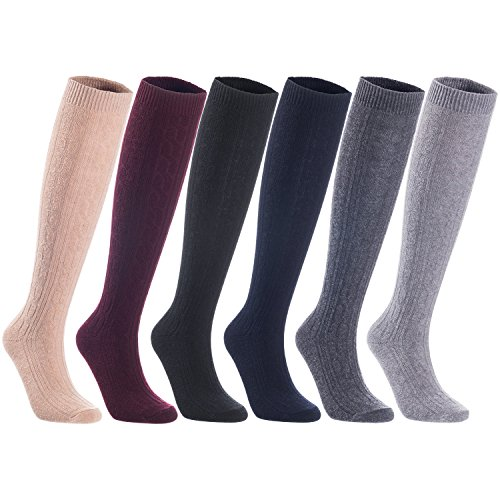 Lian LifeStyle Women's 5 Pairs Knee High Wool Boot Socks Leg Warmer HR158121 Size 7-9 Assorted Colors
