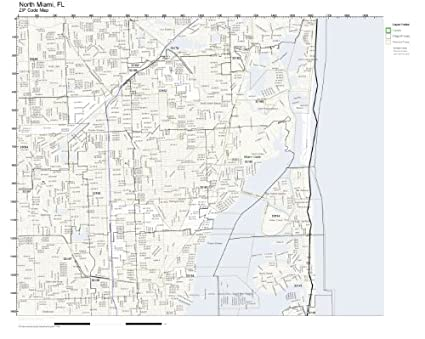 Amazon.com: ZIP Code Wall Map of North Miami, FL ZIP Code Map ...