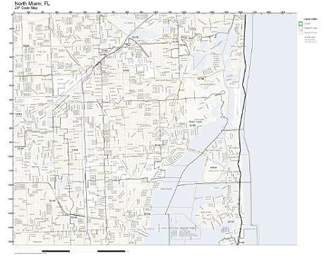 Amazon Com Zip Code Wall Map Of North Miami Fl Zip Code Map Not