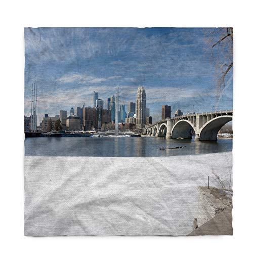 Fantasy Star Rectangle Polyester Tablecloth, Winter Snow Scene in Minneapolis City Tablecloths Machine Washable Table Cover Decorative Table Cloth for Kitchen Dinning Banquet Parties 60 x 90 Inch -