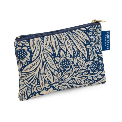 Blue Badge Company Padded Cotton Zip Up Cosmetic Purse with Waterproof Lining, Small William Morris Marigold Indigo Print CP-WM-MI-476