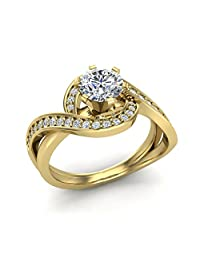 14k Yellow Gold Intertwined Diamond Engagement Ring Split Shank 1.00 ctw (Ring Size 6)