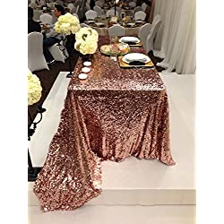 "ShinyBeauty Rectangular 60x102-Inch Copper Sequin Tablecloth, 5FT Table 60"" x 102"" Sequin Table Cloth Rectangle for Parties Decortain"