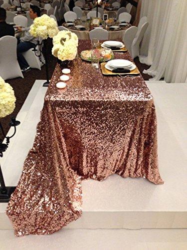 "ShinyBeauty Rectangular 60x102-Inch Copper Sequin Tablecloth, 5FT Table 60"" x 102"" Sequin Table Cloth Rectangle for Parties Decortain"