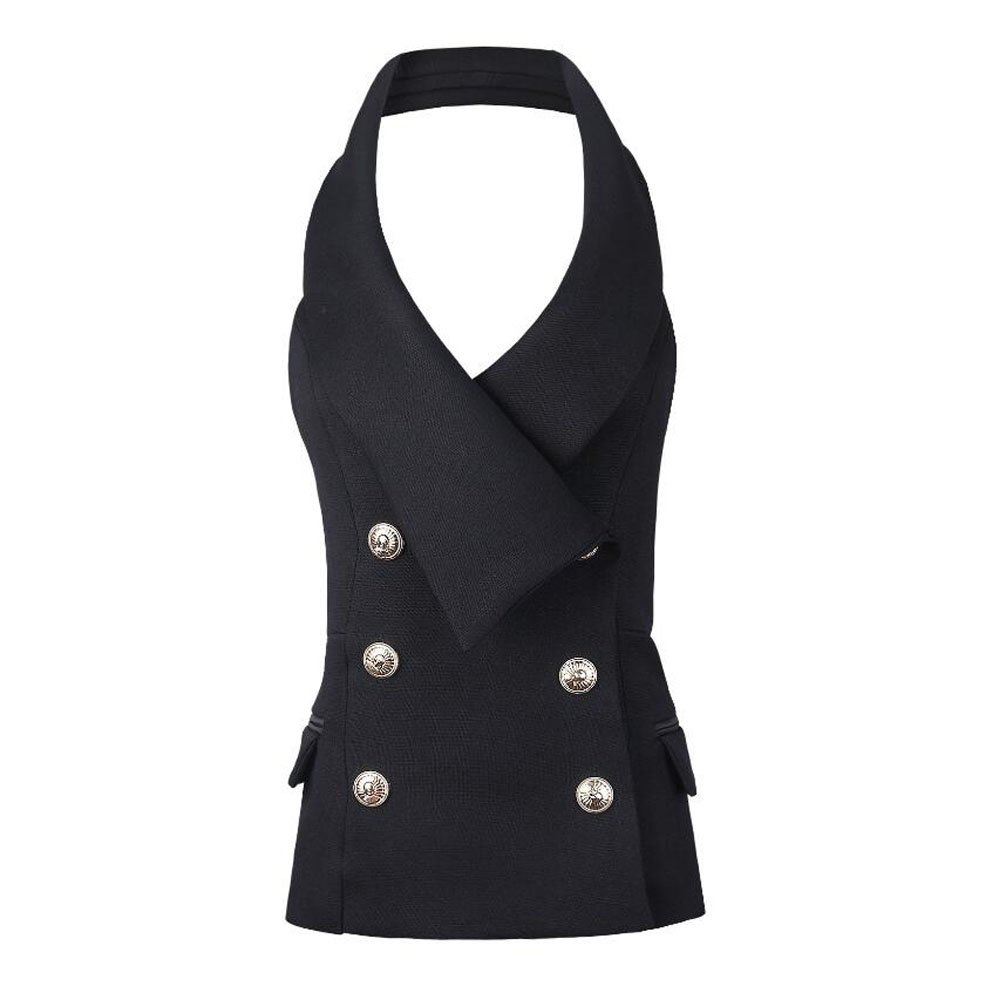 KoHuiJoo Women Halter Vest Jacket, Sexy Golden Buttons Lapel Waistcoat, Solid V Neck Sleevless Fitted Work Suit Coat (Black, M)