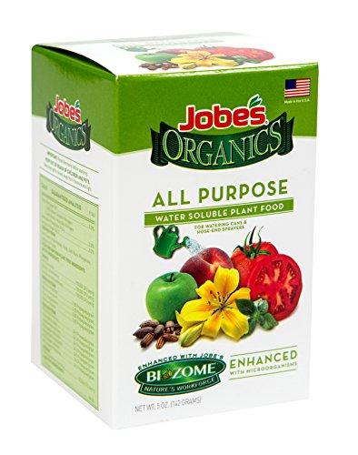 Jobe's Organics All Purpose Fertilizer 5-2-3 Water Soluble Plant Food Mix with Biozome, 5 oz Box Makes 15 Gallons of Organic Liquid Fertilizer
